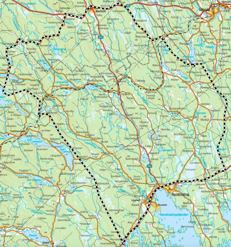 Inom detta område får skyddsjakten bedrivas. Karta: Länsstyrelsen i Västerbottens län
