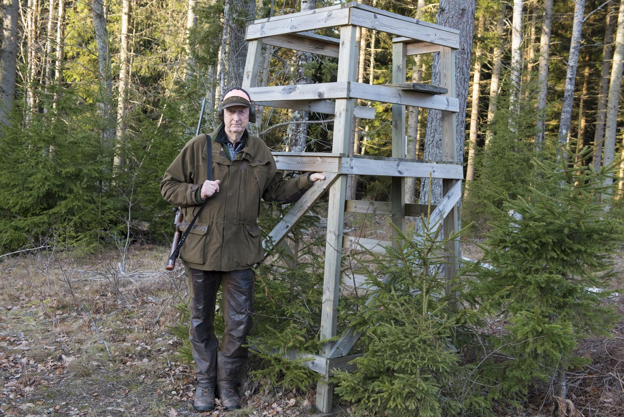 Jakttornet är byggt som Börje Johnsson vill att det ska göras. Virket är tryckimpregnerat, stommen är i rejäl två tum fyra, en stadig sittbräda och en sarg på överliggaren gör det möjligt att ta stöd för säkrast möjliga skott. Tornet är mycket stadigt, men kan förses med snedsträvor för att minimera risken att det ska välta när jägaren står på stegen. Foto: Jan Henricson