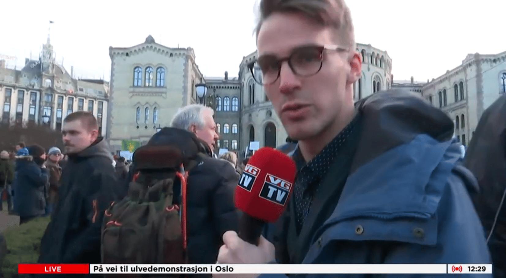 Livesändning av Verdens Gang från vargjaktdemonstrationerna i Norge.