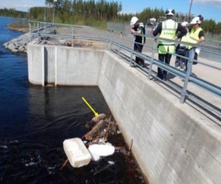 Det var personal vid vattenkraftverket som upptäckte den tjuvskjutna vargen. Foto: Polisen