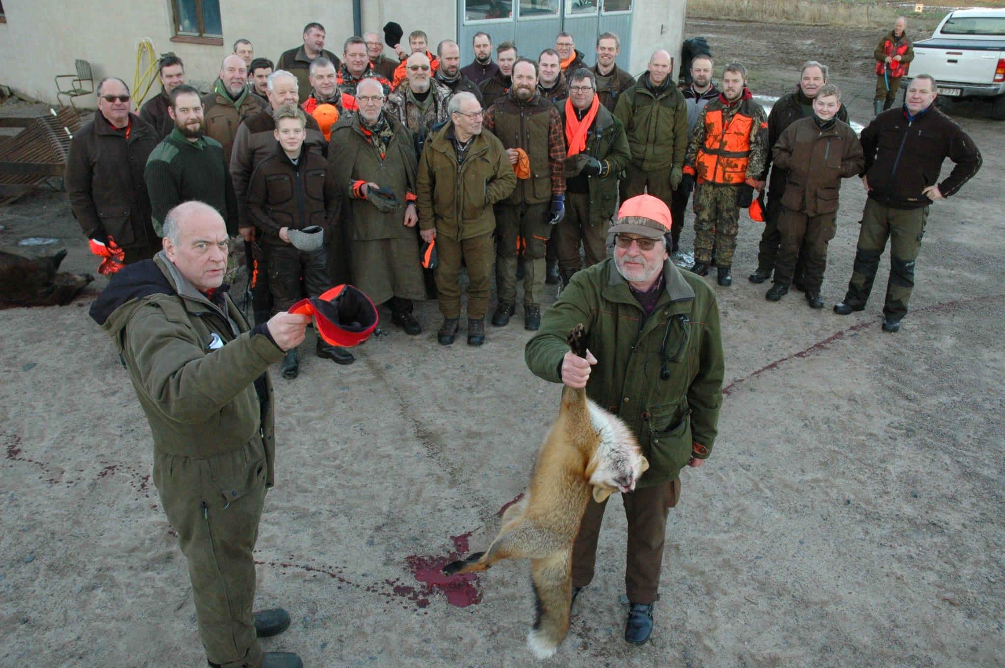 Klas Månsson gratulerar sin namne Klas Johansson för att ha fällt räv nummer 800 i området. Det var Klas första räv för säsongen, men det brukar bli några stycken varje år. Foto: Gunnar Nilsson