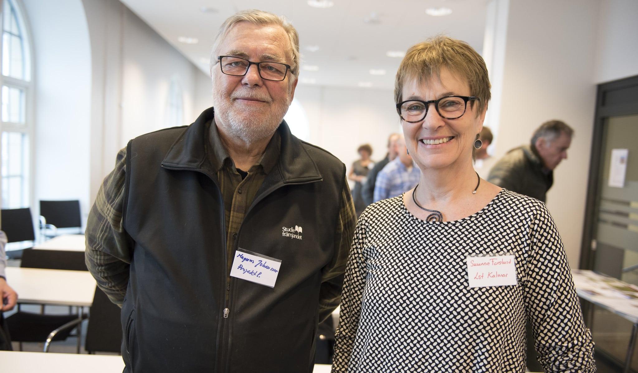 Magnus Johansson, Mörbylånga jaktvårdskrets, och Susanne Forslund, länsstyrelsen Kalmar, kunde inte vara annat än nöjda med intresset för deras gemensamma seminarium om predatorjakt som en del av naturvården.