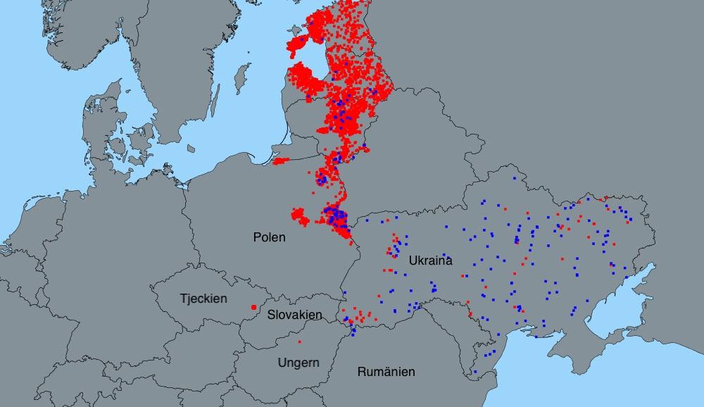 Konstaterade fall av afrikansk svinpest på vildsvin (röda prickar) och tamgris (blå prickar) under 2017 och 2018. Källa: ADNS