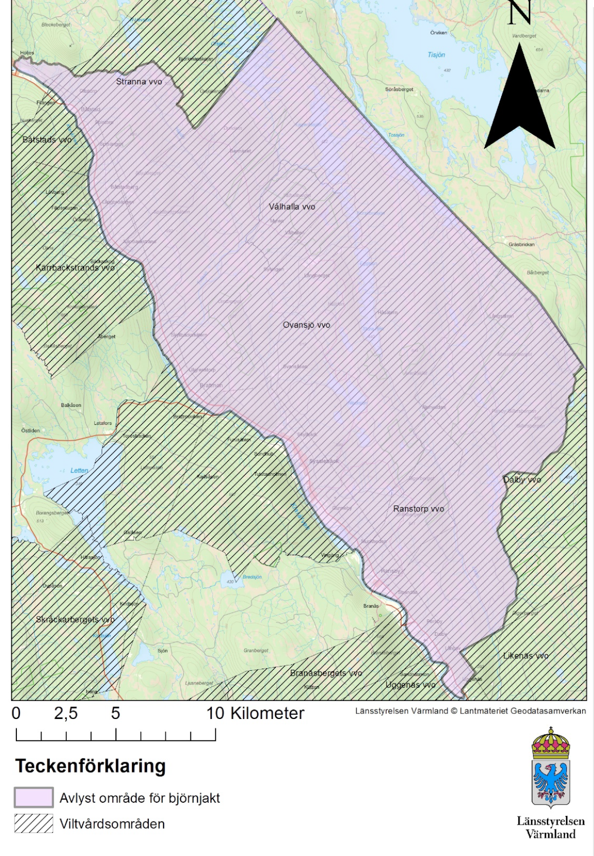 Karta över det avlysta björnjaktsområdet. Källa: Länsstyrelsen