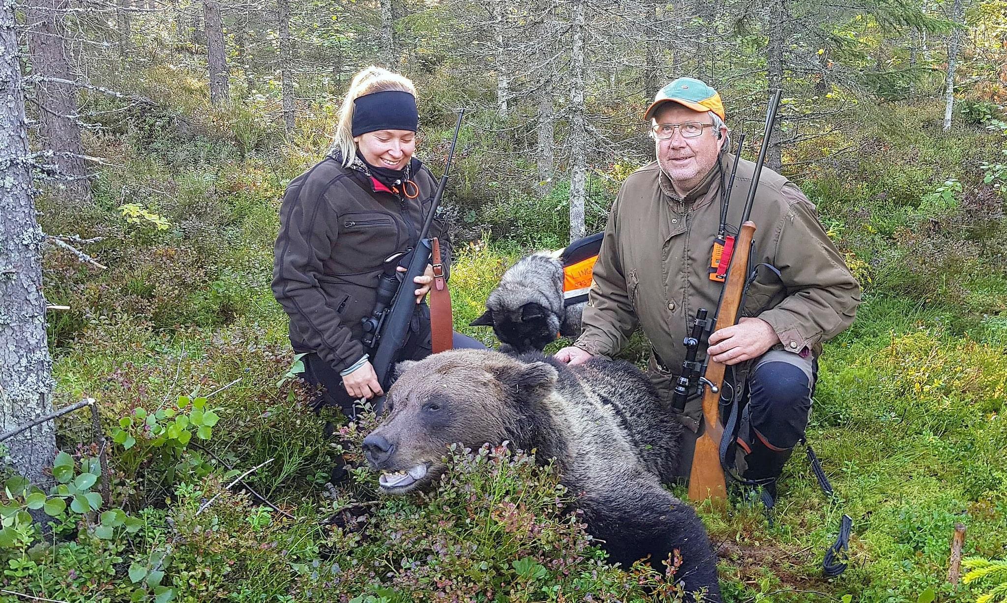 Elin Kohlström och Göran Andersson stod på samma pass och fällde tillsammans en björnhona. Det var Elins första björn och samma dag fällde sambon Sebastian Nordvall också en björnhona undan sina gråhundar.