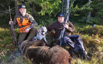 Skyttar Fredrik Ottosson Flykälen och 16-årige Lucas Strömberg Yxskaftkälen vilka inte gjorde något misstag när björnen kom på endast 20 meter. En hane på 125 kilo. Foto: Privat