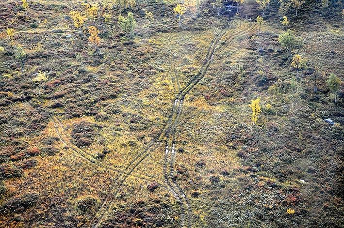 Den allt mer omfattande terrängkörningen på barmark lämnar svårläkta körspår, bland annat på myrmarker, i sluttande terräng, över bäckar och på kalfjäll. Foto: Länsstyrelsen