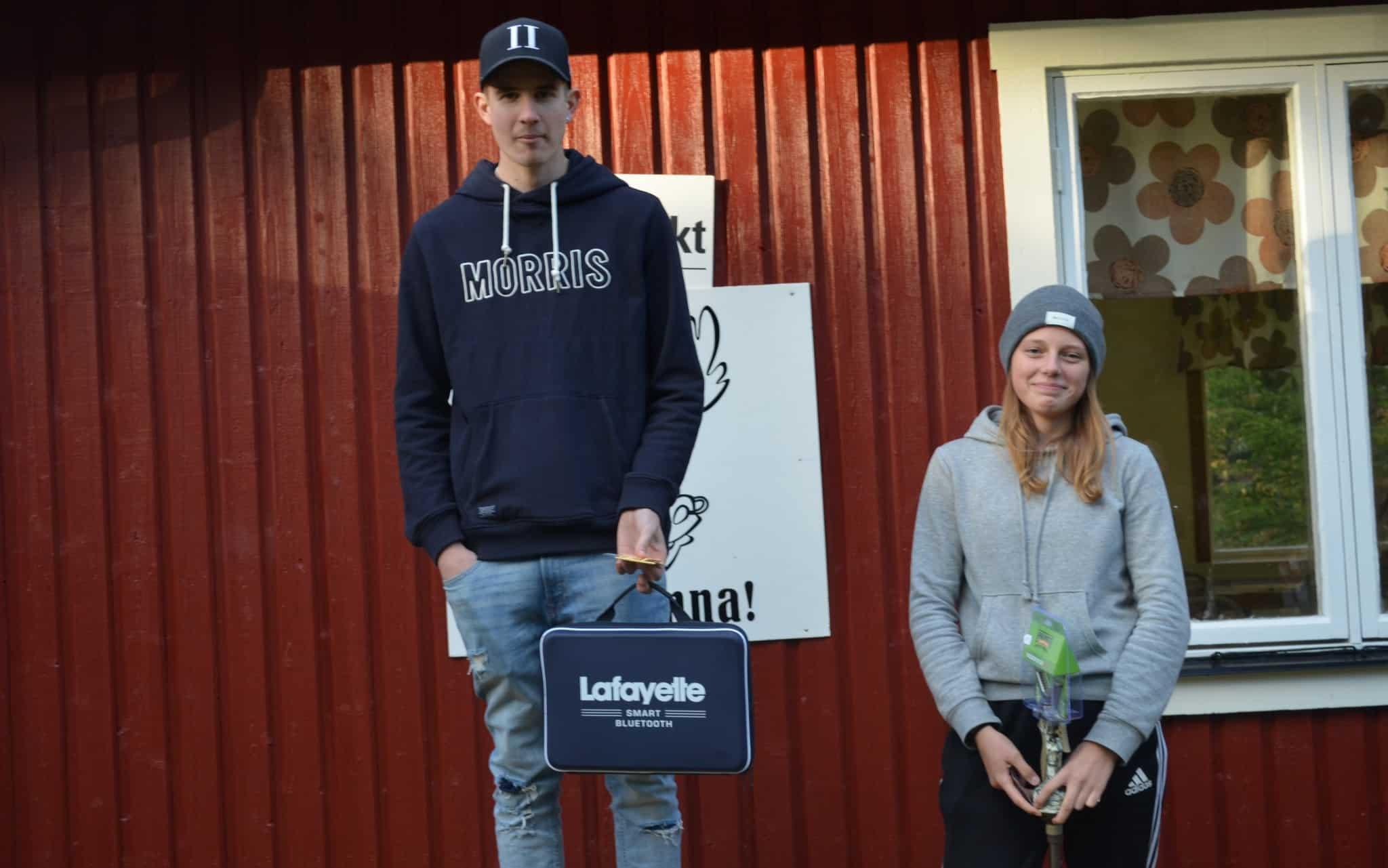 Duktiga juniorer på pallen. Från vänster Jonathan Hedlund, Emelie Runarsson. Saknas gör tvåan Josef Gustafsson. Foto: Lars Björk