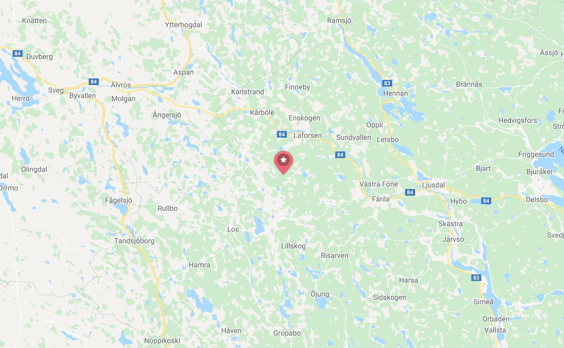 I det här området inträffade björnattacken. Karta: Google Maps