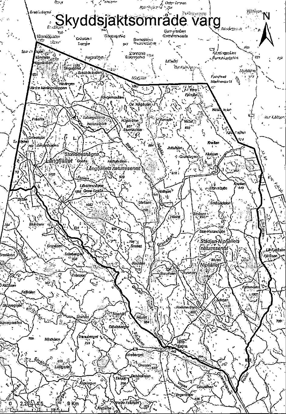Tillåtet skyddsjaktsområde. Karta: Länsstyrelsen Dalarna
