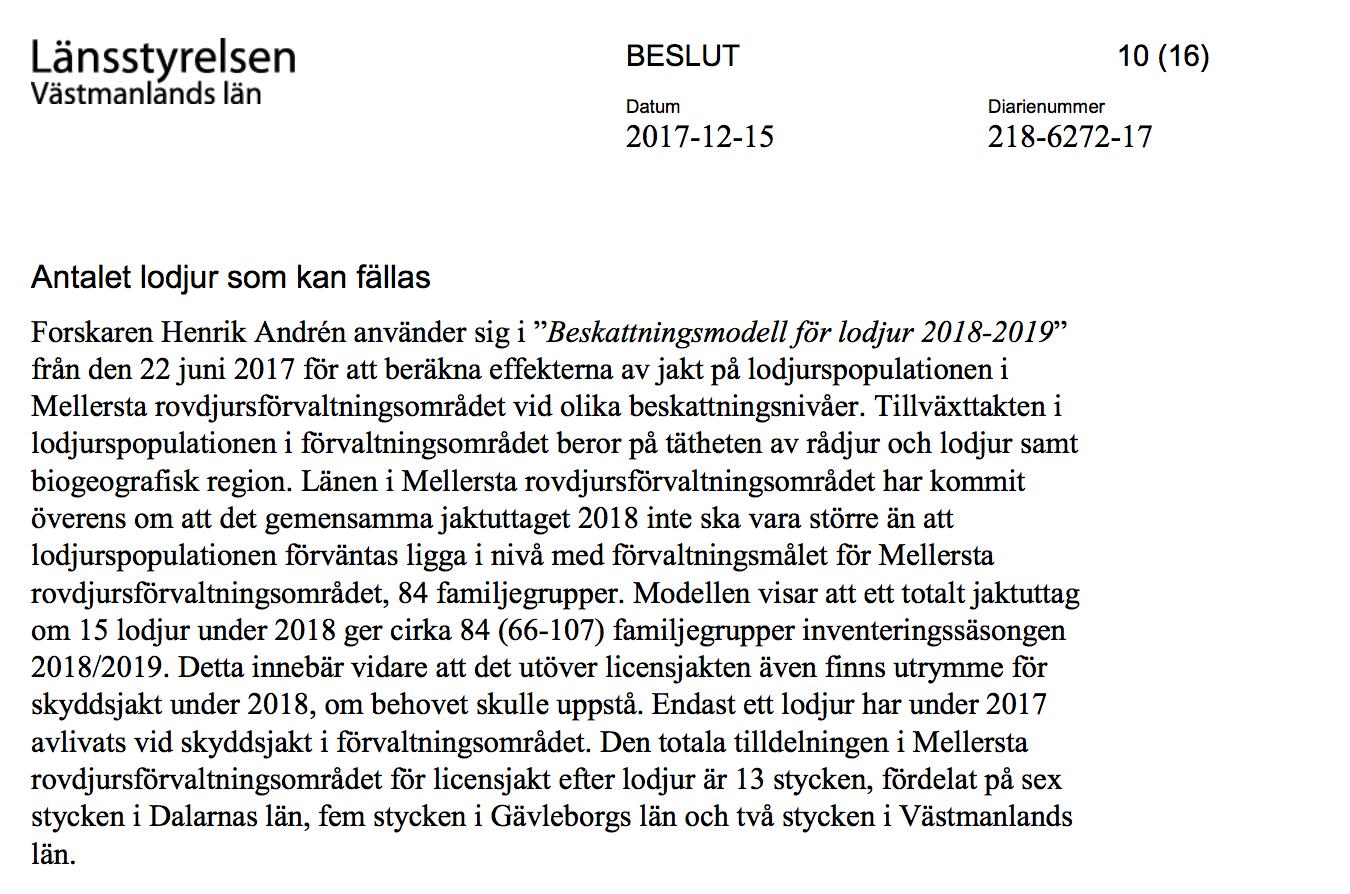 Skärmavbild från det licensjaktbeslut som fattades i december 2017.