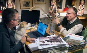Niklas Lundberg, till höger, samt Lars-Henrik Andersson snackar fällor och fällfångst i Svensk Jakts webb-radio.