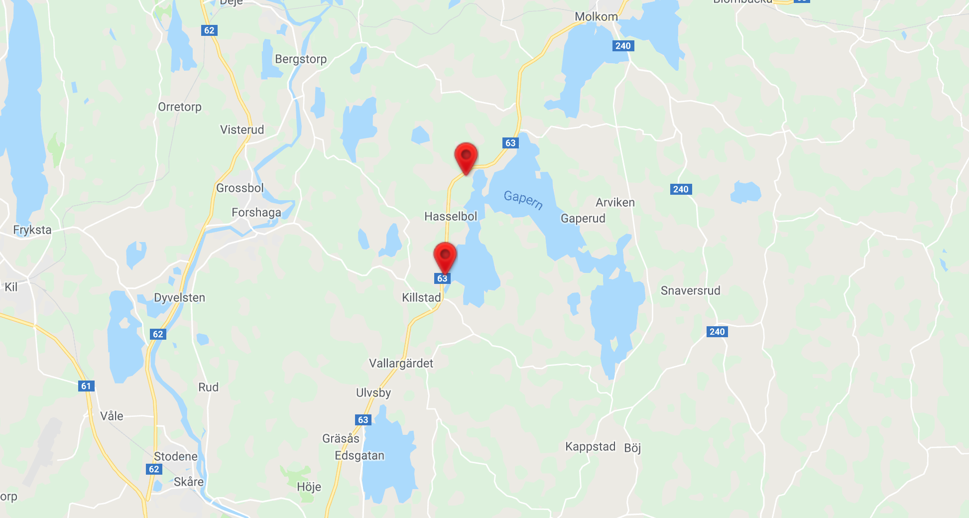 Här inträffade olyckorna. Karta: Google