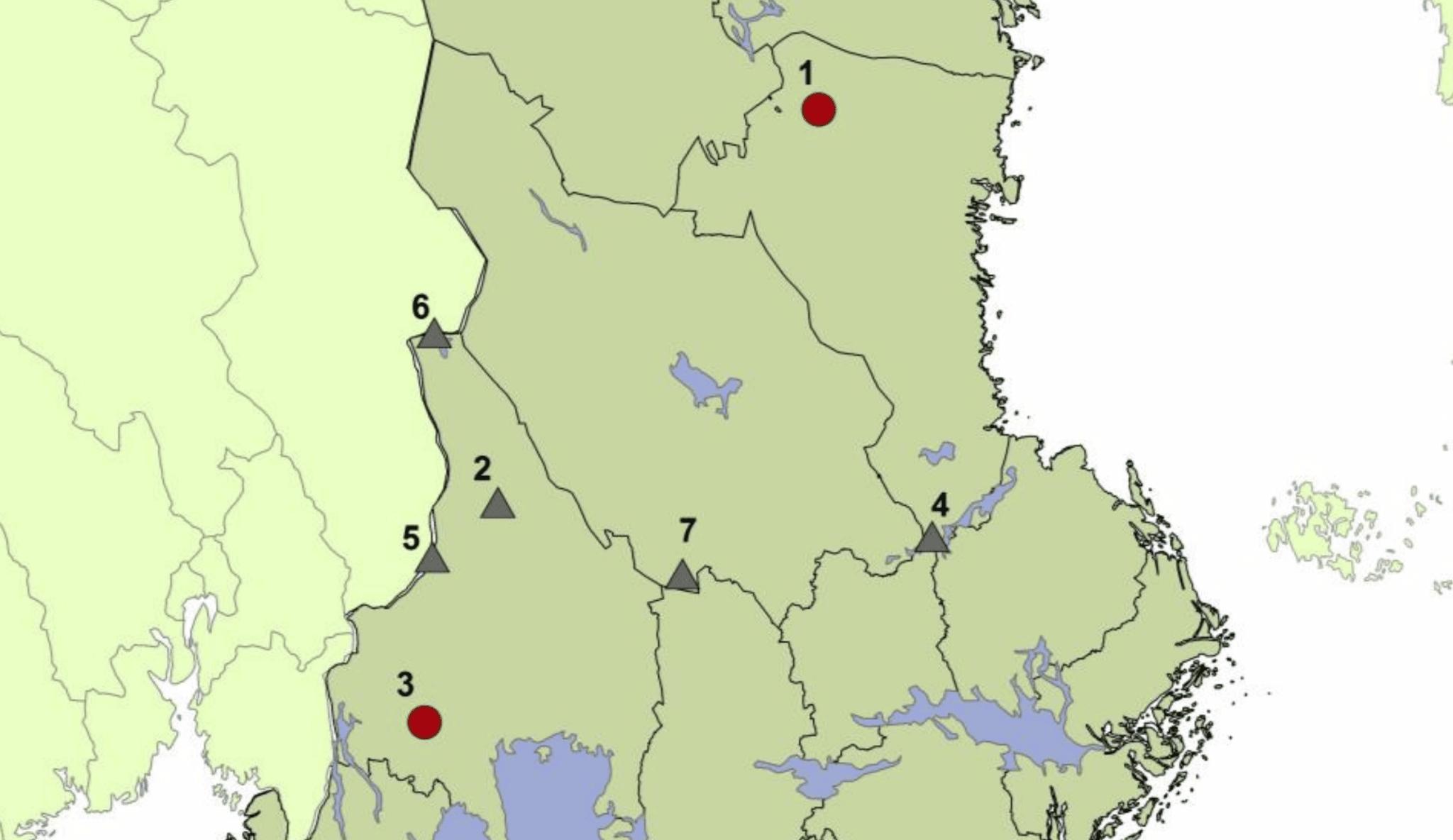 Kartan visar hittills säkrad vargrevir. Familjegrupper (prick) och revirmarkerande par (triangel). Karta: Viltskadecenter
