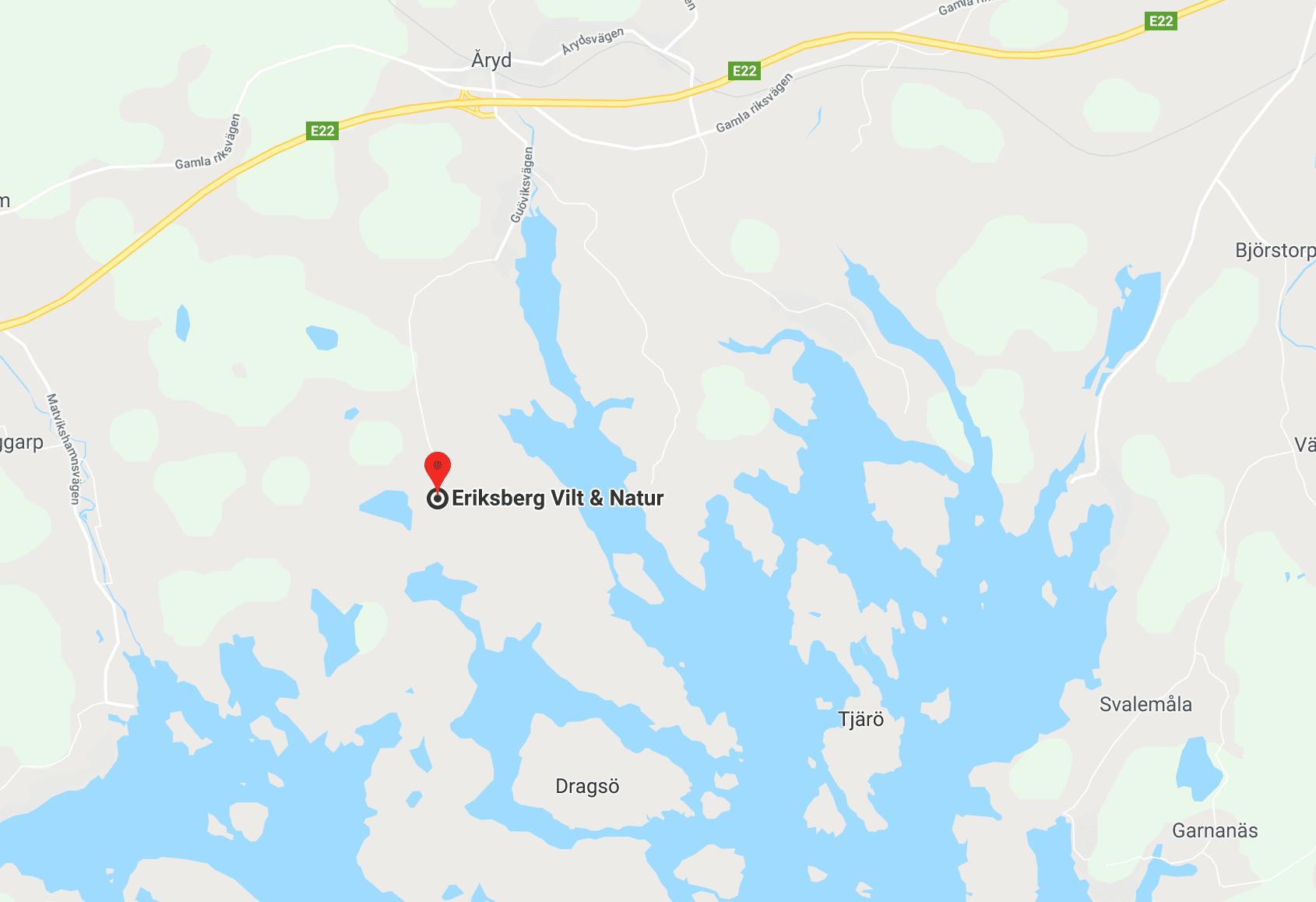 Eriksberg ligger strax väster om Karlshamn i Blekinge.