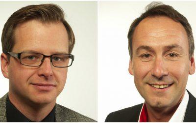 Sten Bergheden (M), till höger, har skickat in en skriftlig fråga till Mikael Damberg (S), till vänster.