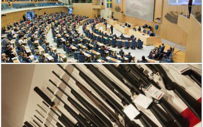 Striden om hur vapendirektivet ska implementeras i Sveriges riksdag har börjat. Om lagrådsremissen blir regeringens förslag kommer det att fällas, enligt den moderate riksdagsledamoten Sten Bergheden. Foto: Melker Dahlstrand/Sveriges riksdag och Jan Henricson