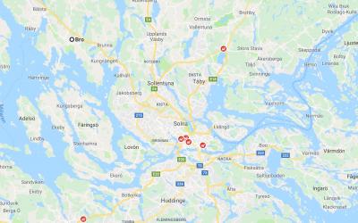 Ett par vildsvin skjutna i Bro nordväst om Stockholm har varit trikinsmittade. Karta: Google