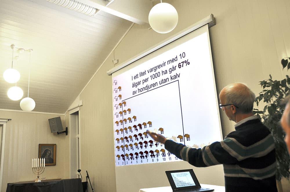 Gunnar Glöersen talade om älgförvaltning i vargområden.