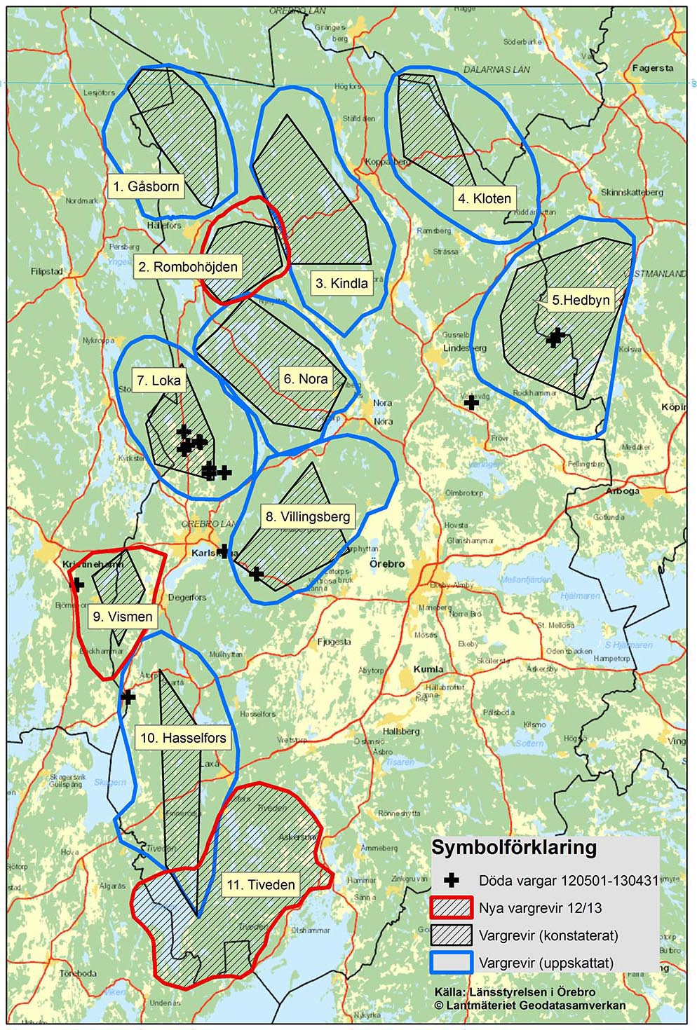 karta örebro län Här finns vargreviren i Örebro län karta örebro län