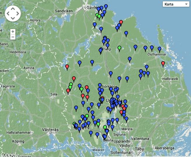 Inrapporterade vargobservationer till länsstyrelsen i Uppsala län sedan 1 januari 2014. Blå markering: ej kvalitetsäkrad observation, grön markering: kvalitetsäkrad observation, röd makering: felaktig observation Källa: Rovobs