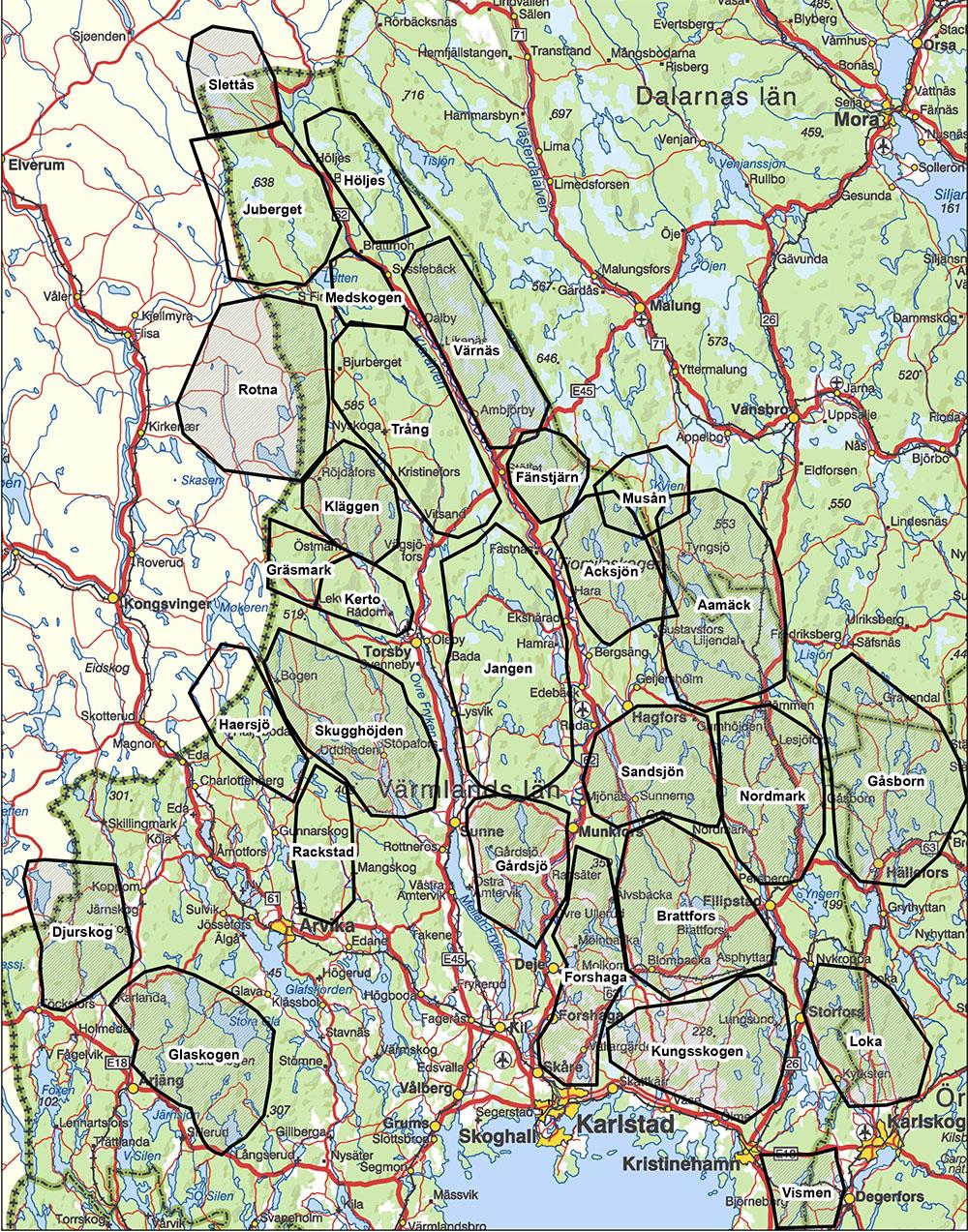 24 vargar får fällas inom två jaktområden som omfattar reviren Forshaga, Gårdsjö, Medskogen och Kläggen. Karta: Länsstyrelsen Värmland