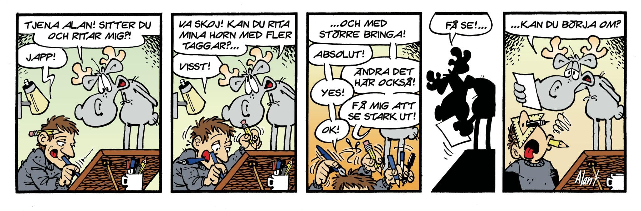 Alan Kamieniarczyk visar i en strip lite av hur han ser på sitt uppdrag som tecknare av Hälge.