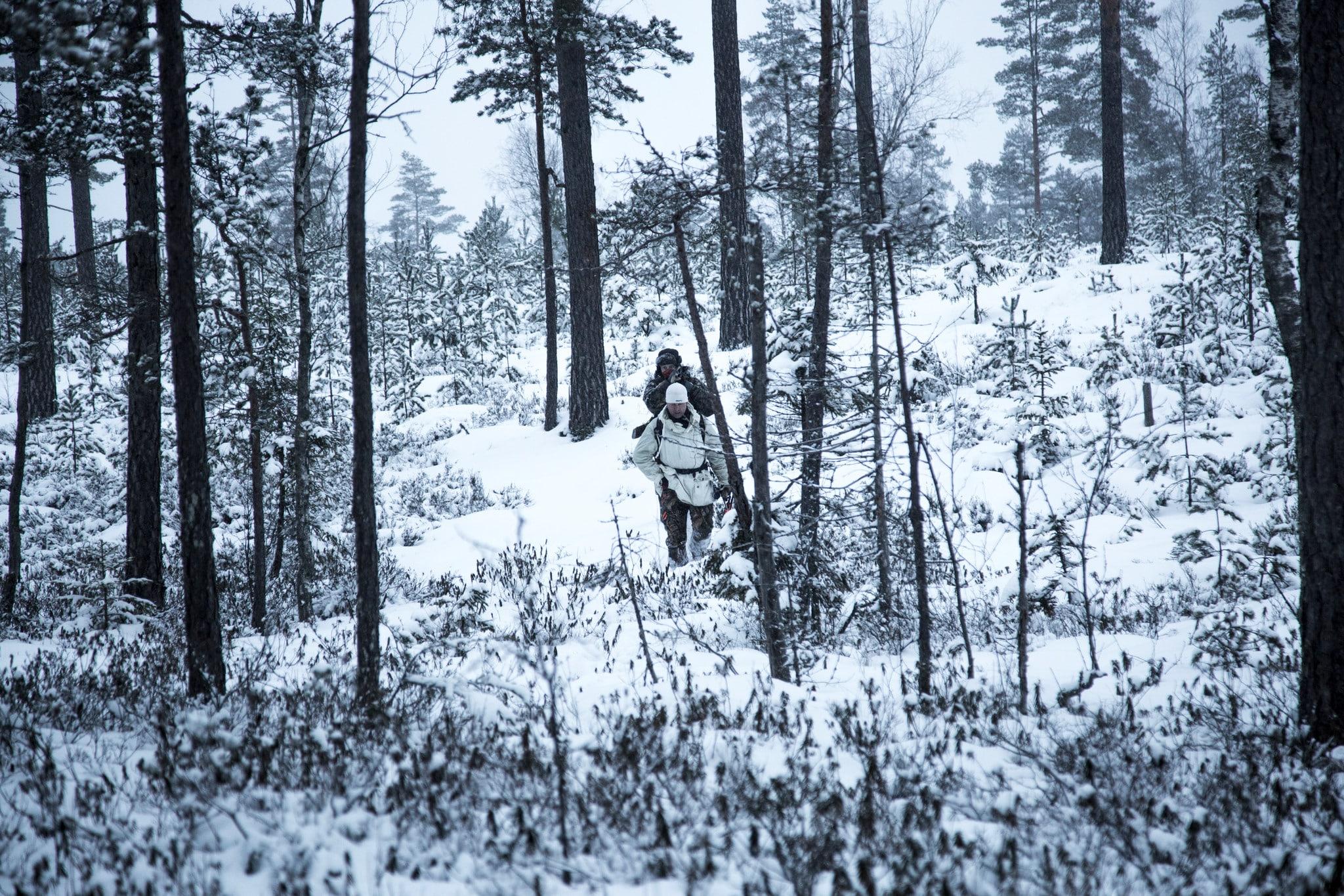 Vargjägare på väg till sina pass under förra vargjakten. I varje fall för tillfället är den kommande jakten stoppad av tre olika domstolar. Foto: Olle Olsson