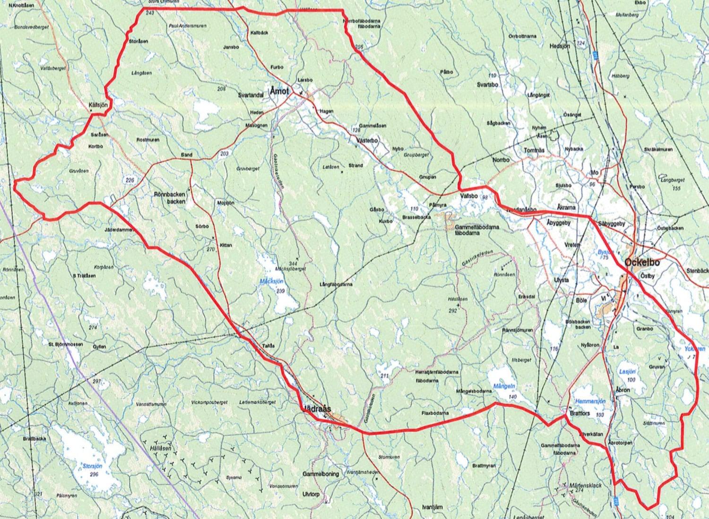 Kartan visar det tillåtna jaktområdet för licensjakt på varg. Källa: Länsstyrelsen