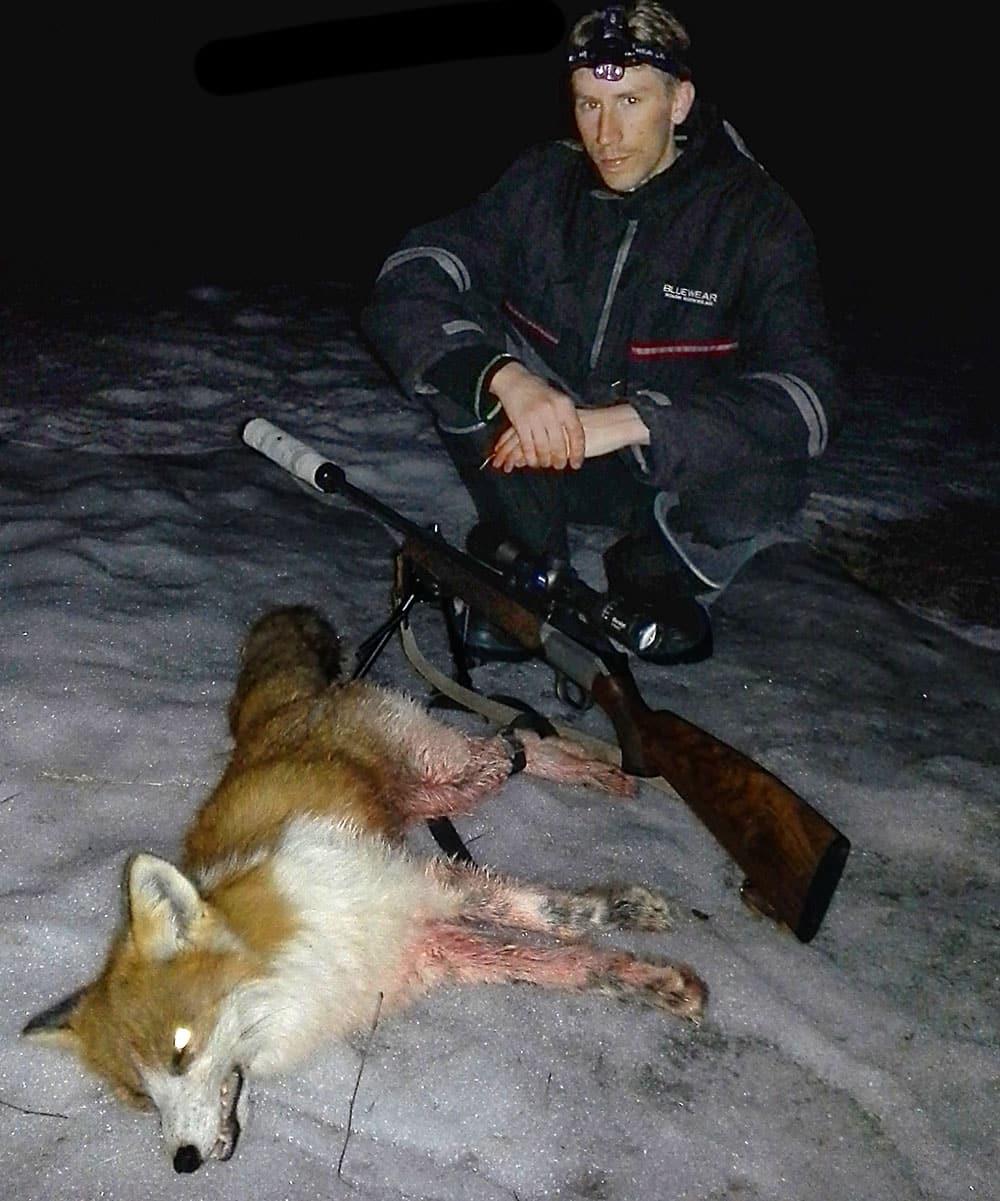 Andreas Vennberg lyckades fälla en räv med ovanliga färger. Foto: Privat