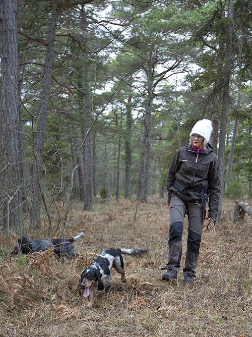 Lotta Persson i skogen, där risken för hundarna att få i sig ax inte är stor. Foto: Classe Persson