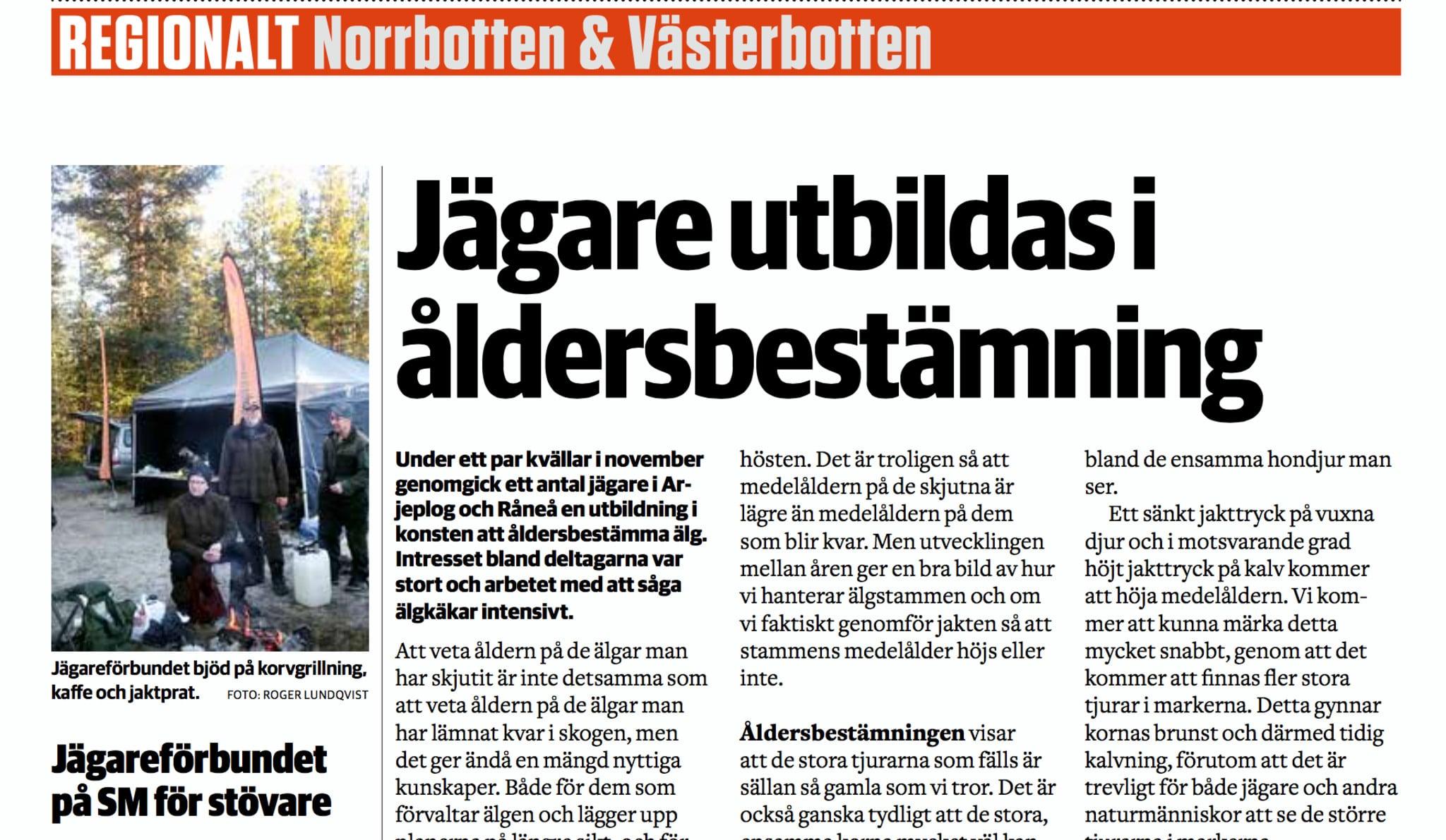 Era texter och bilder hamnar tillslut på de regionala sidorna i Svensk Jakt.